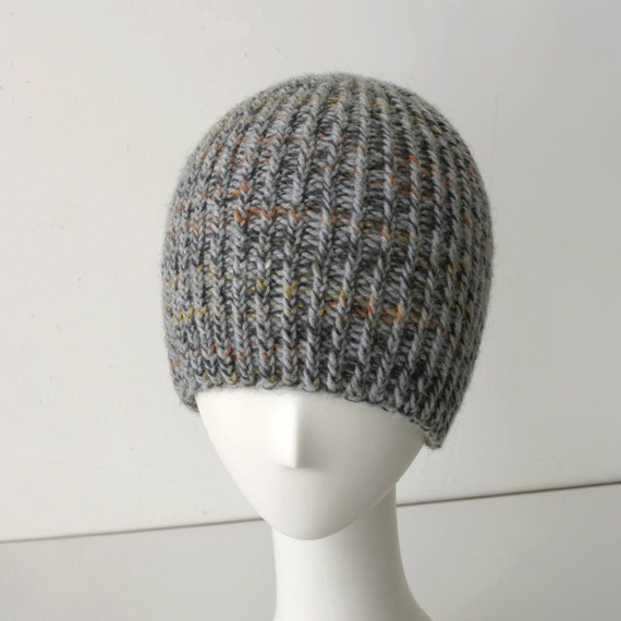 Hand Knit Twisted Rib Reversible Hat in light gray with brown, yellow & orange (Unisex)