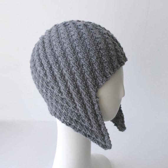 Herringbone Rib Aviator Hat in gray