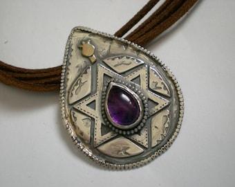 Magen David and Amethyst Silver Pendant