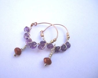 Gold Hoops With Silver Wire and Stones Earrings