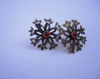 Silver And Garnet Post Earrings