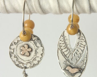 Hand Made Silver and Gold  Hoop Earrings