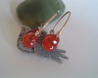 Silver Hoops Earrings With Silver Doves and Stones