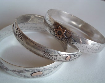 Silver bangles With Gold Ornaments and Hebrew Engravings