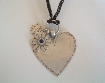 Silver Big Heart Pendant Engraved With Hebrew Blessings - on Leather Strand