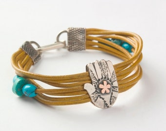 """Leather Bracelet with Big Silver 'Hamsa"""" With Gold Decoration"""