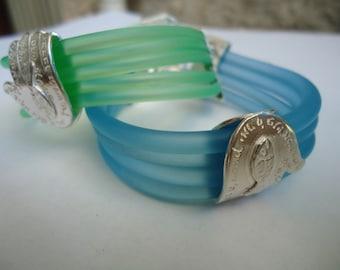 3D Silver Hamsa On Silicone Cords Bracelet