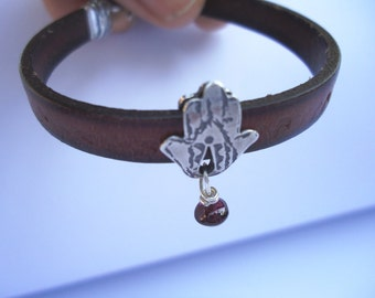 "Leather Bracelet with A Silver 'Hamsa"" Hammered Decorated and Engraved By Hand"
