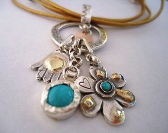 Silver and Gold Charms Necklace - Hand, Flower and stones - All Charms Hand Engraved With Blessings In Hebrew.