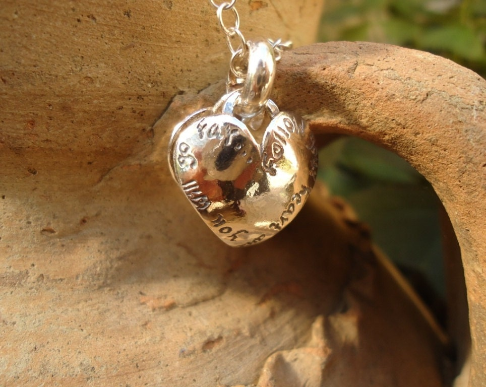 Silver Heart Necklace Hand Engraved Biblical Text In English