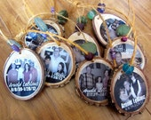 REMEMBRANCE Ornaments for your WEDDING- Custom Photo Ornaments made from tree branches- set of 8 with beads to match your wedding colors