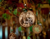 Eco Friendly Custom Photo Ornaments for your WEDDING- use as place cards with guest names- with beads to match your wedding colors