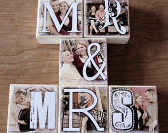Personalized Photo Blocks- for your wedding- MR. and MRS. reception decoration- set of SIX Letter Blocks