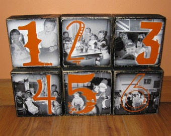 Personalized TABLE Numbers-set of 6 LARGE one-sided Photo Blocks- any color to match your wedding decor