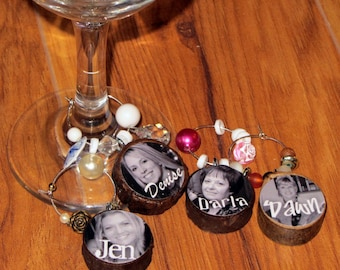 BRIDAL PARTY gift- Custom Photo Wine Charms made from tree branches and reclaimed beads- set of 4