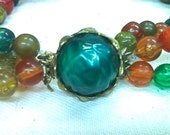 Vintage Chunky Green, Amber & Orange Bib Necklace, 1950s - 1960s