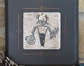 Warrior with Shield Petroglyph on Stone