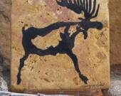Moose Petroglyph on Stone