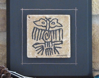 Two-Headed Bird Petroglyph on Stone