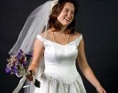 Vintage Demetrios White Wedding Dress, M, 80s