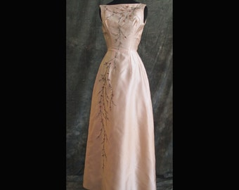 Vintage Beaded Prom, bridesmaid or MOB gown, XS, 60s
