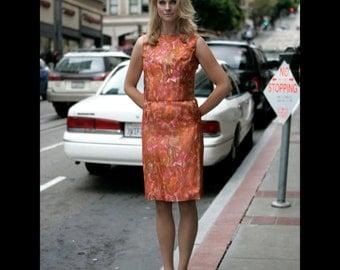 Four piece day to night silk ensemble, 60s, s, orange cocktail dress