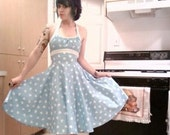 RESERVED Sky Blue Pin-Up Retro Swing Dress