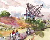 Stanford Dish Palo Alto California - 8x10 print from an original watercolor sketch