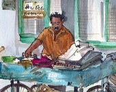 Sketch from India, Ironing Man, Watercolor Sketch -