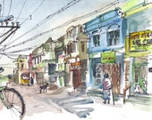 sketch from India Travel Art, Watercolor sketch, Quiet street with blue house, India - archival print
