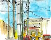 San Francisco Watercolor Sketch, Power Lines and Newspaper Dispensers, Urban travel sketch- fine art print