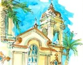 Ornate Architecture, San Jose California Facade and palm trees watercolor sketch - 8x10 print