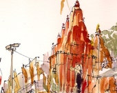 India Varanasi temple sketch for the traveler - 8x10 print from an original watercolor sketch