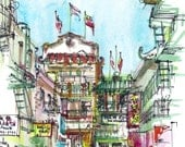 San Francisco Chinatown California Watercolor Sketch in red, blue, green and yellow - 8x10 print
