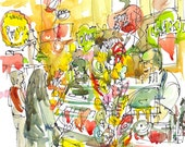 Old Fashioned Candy Store, watercolor sketch in bright colors - print from an original watercolor sketch