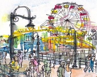 Santa Monica Pier, California, watercolor sketch in primary colors - archival print from an original watercolor sketch