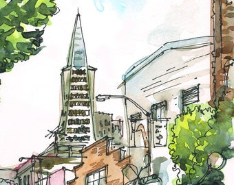 San Francisco California TransAmerica Building and bikes, watercolor sketch in green and grey -fine art print