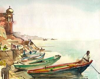 India Varanasi Boatman on the River, watercolor sketch 8x8 art print