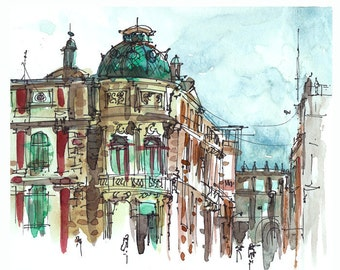 Emerald watercolor sketch, mexico City ,Turquoise dome, Architectural art urban art in copper and brick red - 8x10 print