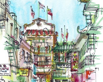 San Francisco Chinatown California Watercolor Sketch in red, blue, green and yellow