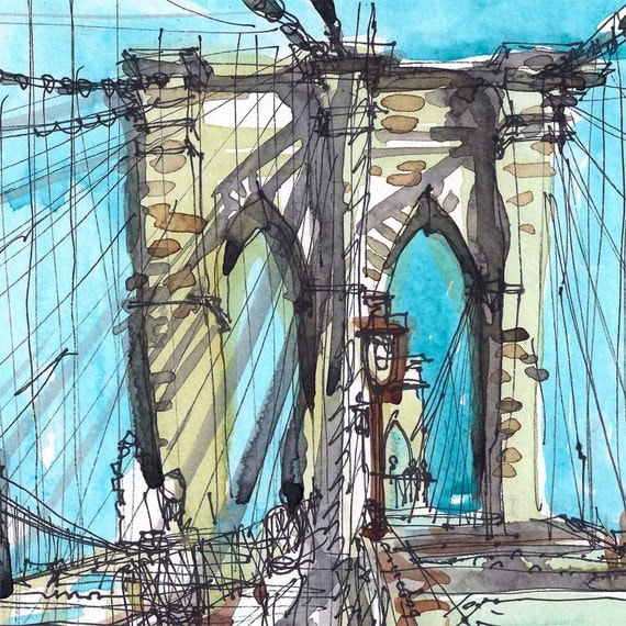 Watercolor New York: Brooklyn Bridge New York Sketch Watercolor Sketch In By