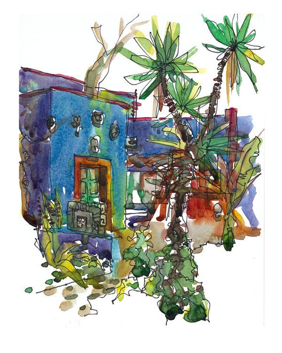 Frida Kahlo Art Blue House Mexico gift for traveller - 8x10 fine art print of an original watercolor sketch