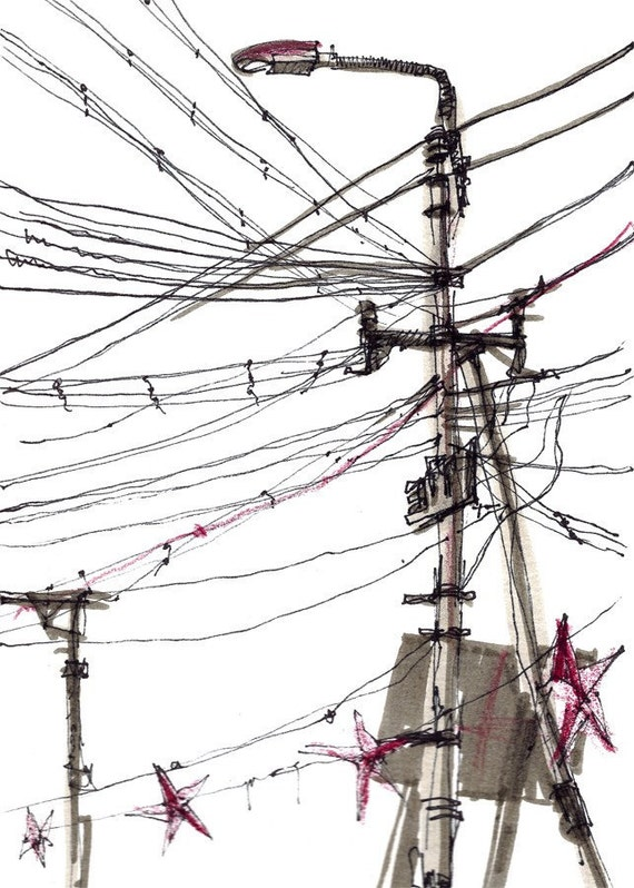 Power Lines, Urban sketch, Study in black and white- fine art print