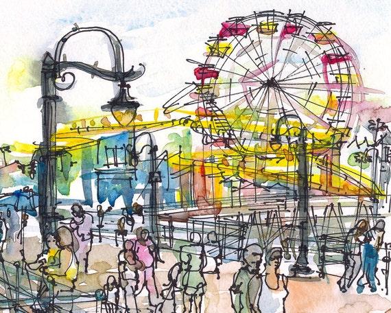 Beach Pier Drawing Santa Monica Pier California