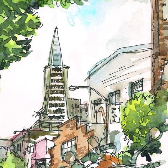 San Francisco California TransAmerica Building and bikes, watercolor sketch in green and grey -fine art print