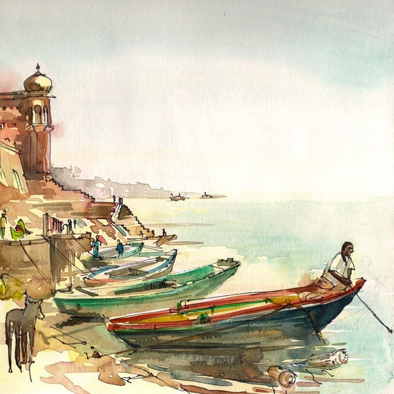 India Varanasi Boatman on the River, watercolor sketch 8x8 art print