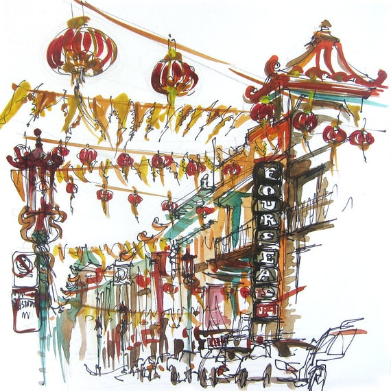 San Francisco Chinatown, california watercolor sketch, fine art print from an original watercolor