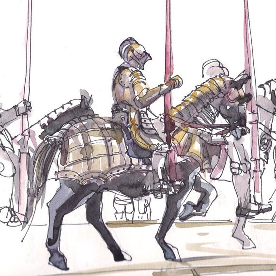 Medieval Knight On Horse Drawing Medieval knights in armor on