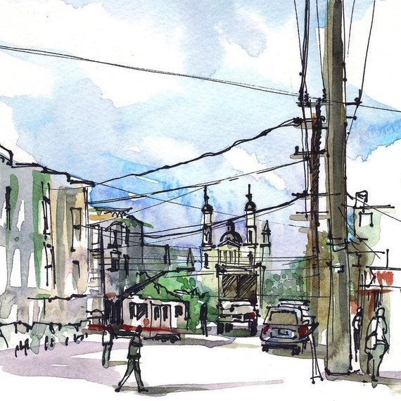 San Francisco Cole Valley power lines, urban watercolor sketch in blue and grey