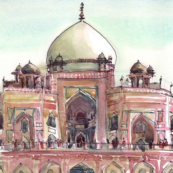 India Monument sketch, Gift for traveler, world traveler- print from an original watercolor sketch